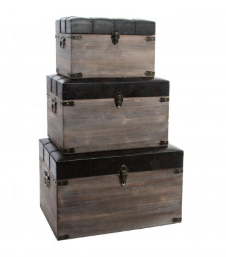Set da 3 bauli in legno